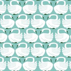 LV401-WA1 On a Spring Day - Loving Swans - Waterfall Fabric