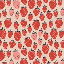 LV500-TR6UC Under the Apple Tree - Queen of Berries - True Red Unbleached Canvas Fabric