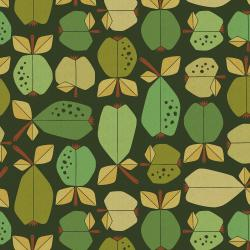 LV503-GR7UC Under the Apple Tree - Orchard - Green Unbleached Canvas Fabric