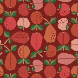 LV503-VE5UC Under the Apple Tree - Orchard - Vermilion Unbleached Canvas Fabric