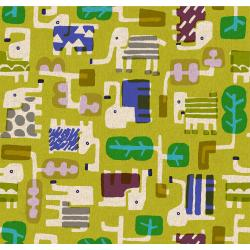 MS100-GR3C Safari - Elephant Walk - Grass Canvas Fabric