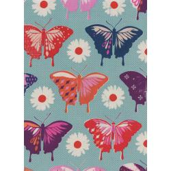 M0057-001 Flutter - Butterflies - Aqua Unbleached Cotton Fabric