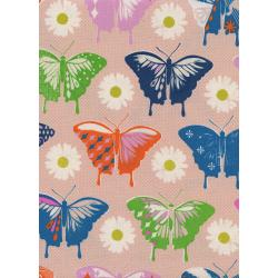 M0057-002 Flutter - Butterflies - Peach Unbleached Cotton Fabric