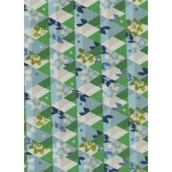 M0059-001 Flutter - Kaleidoscope - Green Unbleached Cotton Fabric