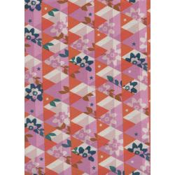 M0059-003 Flutter - Kaleidoscope - Orange Unbleached Cotton Fabric