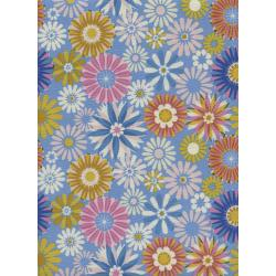 M0061-002 Freshly Picked - Garden - Blue Unbleached Cotton Fabric