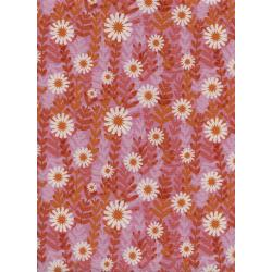 M0062-001 Freshly Picked - Daisies - Pink Unbleached Cotton Fabric