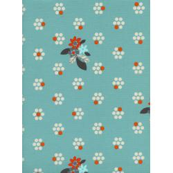 M0029-001 Fruit Dots - Fruit Blossoms - Blue Fabric