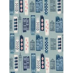 M0043-001 Jubilee - In The City - Blue Unbleached Cotton White Pigment Fabric