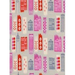 M0043-002 Jubilee - In The City - Pink Unbleached Cotton White Pigment Fabric