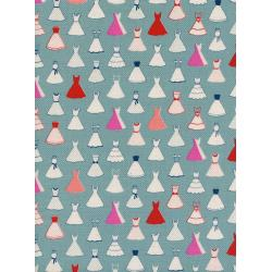 M0046-001 Jubilee - Dress Up - Blue Unbleached Cotton Fabric