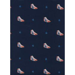 M0054-001 Kicks - Little Kicks - Navy Unbleached Cotton Fabric