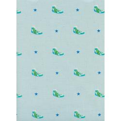 M0054-002 Kicks - Little Kicks - Aqua Unbleached Cotton Fabric