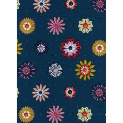 M0020-001 Picnic - Enamel Flowers - Teal Fabric