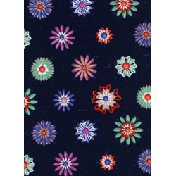 M0020-002 Picnic - Enamel Flowers - Navy Fabric