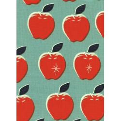 M0025-012 Picnic - Apples - Red/Blue Canvas Fabric