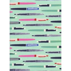 M0035-002 Trinket - Pens - Aqua Unbleached Cotton Fabric