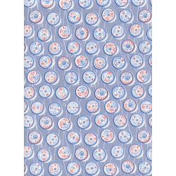 M0036-001 Trinket - Spools - Blue Unbleached Cotton Fabric