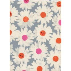 M0037-002 Trinket - Happy Garden - Steel Blue Unbleached Cotton Fabric