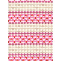 M0038-002 Trinket - Gumdrops - Pink Unbleached Cotton Fabric