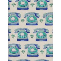 M0042-001 Trinket - Telephones - Aqua Unbleached Cotton Fabric