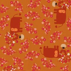 NM102-AC3U Kawaii Nakama - I Heart Elephants - Acorn Unbleached Fabric