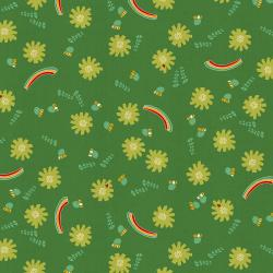 NM104-GR1U Kawaii Nakama - Dandelions - Green Unbleached Fabric