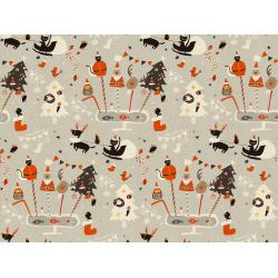 NM200-GY3U Waku Waku Christmas - Holiday Party - Gray Unbleached Fabric