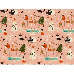 NM200-PI1U Waku Waku Christmas - Holiday Party - Pink Unbleached Fabric