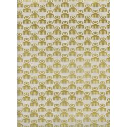 R1975-002 Akoma - Duafe - Golden Unbleached Metallic Fabric