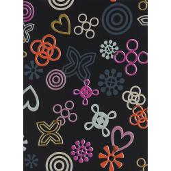 R1977-015 Akoma - Symbolic - Midnight Rayon Fabric