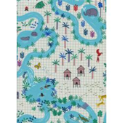 R1954-001 Lagoon - Lagoon Map - Natural Unbleached Cotton Fabric