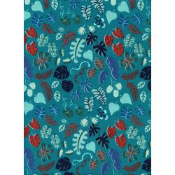 R1955-002 Lagoon - Leafy Wonder - Teal Fabric