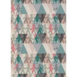 R1962-002 Paper Cuts - Paper People - Spearmint Unbleached Cotton Fabric