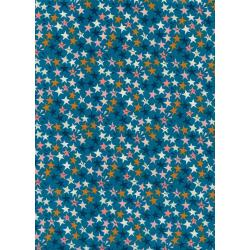 R1965-001 Paper Cuts - Starstuck - Teal Unbleached Cotton Fabric