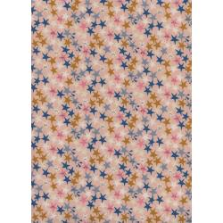 R1965-002 Paper Cuts - Starstruck - Peachy Unbleached Cotton Fabric