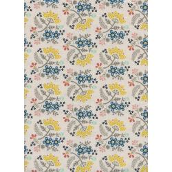 R1966-001 Paper Cuts - Paper Bouquet - Lemon Unbleached Cotton Fabric
