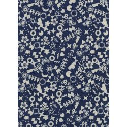 R1968-001 Paper Cuts - Cut It Out - Navy Unbleached Cotton Fabric