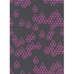 R1943-002 Raindrop - Geo Drops - Charcoal Neon Pigment Fabric