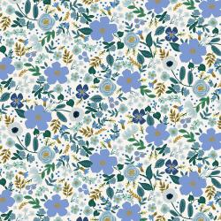 RP303-BL6M Garden Party - Wild Rose - Blue Metallic Fabric