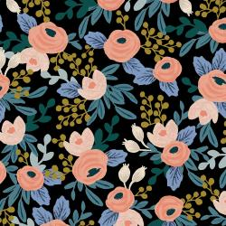 RP521-BK2UC Garden Party - Rosa - Black Unbleached Canvas Fabric
