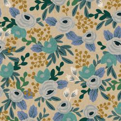 RP521-BL1UC Garden Party - Rosa - Blue Unbleached Canvas Fabric