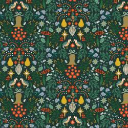 RP600-EV2M Holiday Classics - Partridge - Evergreen Metallic Fabric