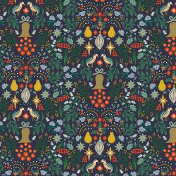 RP600-NA3M Holiday Classics - Partridge - Navy Metallic Fabric