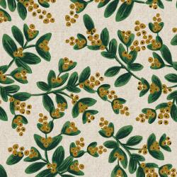 RP601-WH5UCM Holiday Classics - Mistletoe - White Unbleached Canvas Metallic Fabric