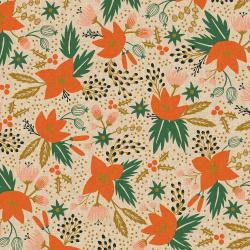 RP602-CR3UCM Holiday Classics - Poinsettia - Cream Unbleached Canvas Metallic Fabric