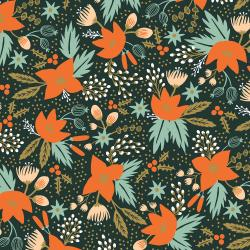 RP602-EV4R Holiday Classics - Poinsettia - Evergreen Rayon Fabric