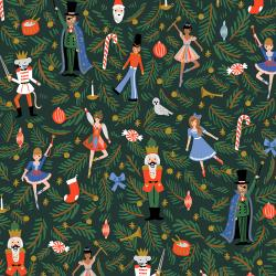 RP605-EV2CM Holiday Classics - Nutcracker - Evergreen Canvas Metallic Fabric