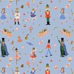 RP606-PB2M Holiday Classics - Land of Sweets - Powder Blue Metallic Fabric
