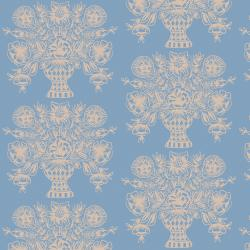 RP206-BL1 Meadow - Vase Block Print - Blue Fabric